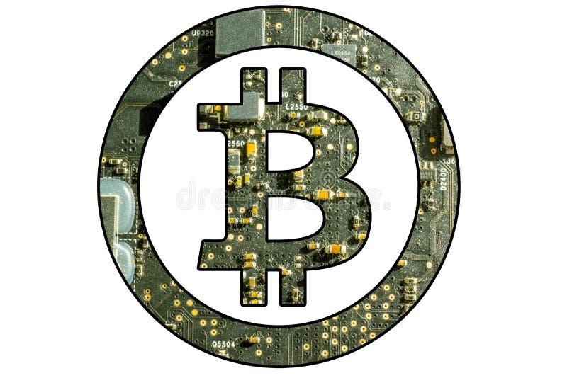 Bitcoin symbol med elektronisk bakgrund arkivbilder