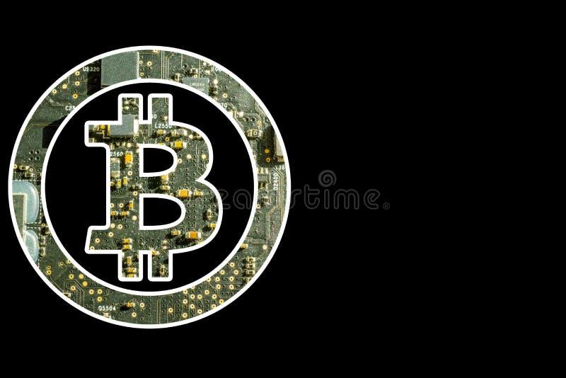 Bitcoin symbol med elektronisk bakgrund royaltyfri foto