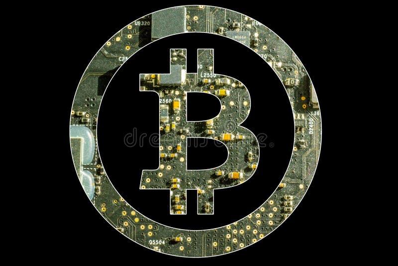 Bitcoin symbol med elektronisk bakgrund royaltyfria foton