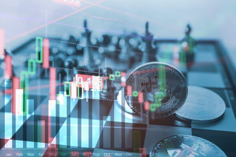 Bitcoin symbol na szachowej grą planszowa, halsuje pieniężnego statystycznego wykres analizy dane pojęcie obraz stock