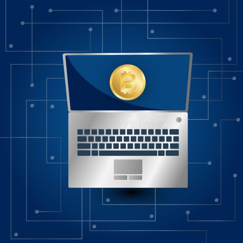 Bitcoin symbol och bärbar dator på blå lutning stock illustrationer