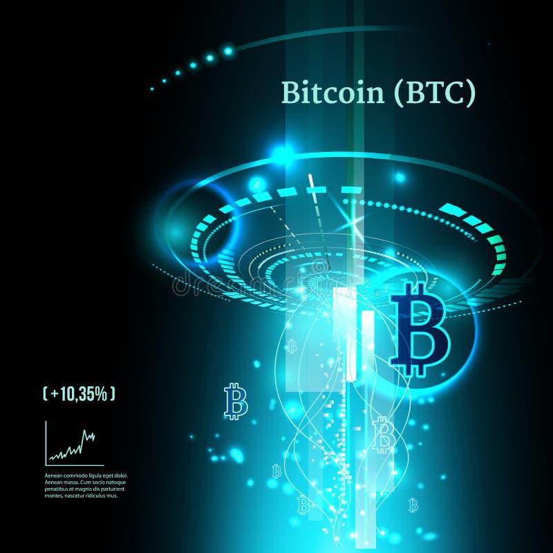 Bitcoin symbol och prisdiagram Cryptocurrency begrepp Futuristisk vektorblåttdesign royaltyfri illustrationer