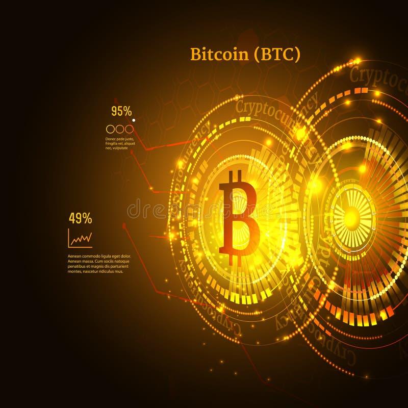 Bitcoin symbol och prisdiagram Cryptocurrency begrepp Futuristisk vektordesign stock illustrationer