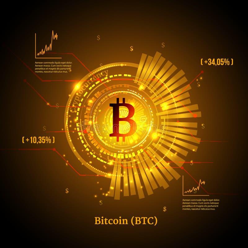 Bitcoin symbol och prisdiagram Cryptocurrency begrepp Futuristisk vektordesign vektor illustrationer