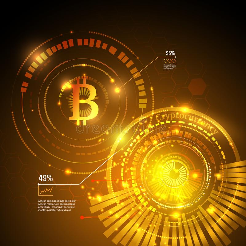 Bitcoin symbol och prisdiagram Cryptocurrency begrepp Futuristisk vektordesign royaltyfri illustrationer