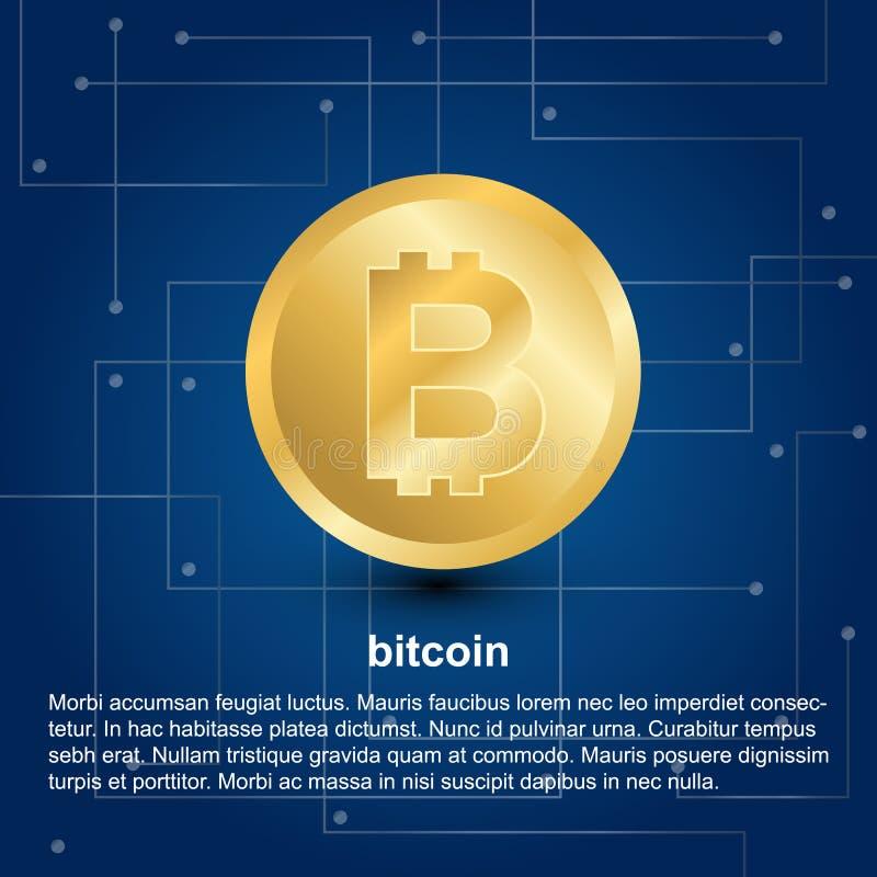 Bitcoin symbol på blå lutningbakgrund stock illustrationer
