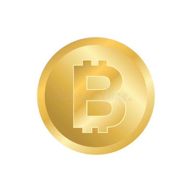 Bitcoin symbol p? vit bakgrund vektor illustrationer