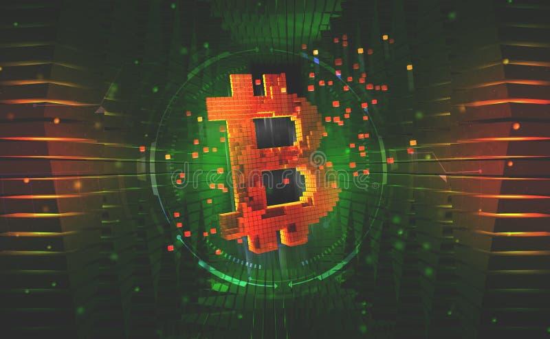 bitcoin symbol Pojęcie cryptocurrency kopalnictwo royalty ilustracja
