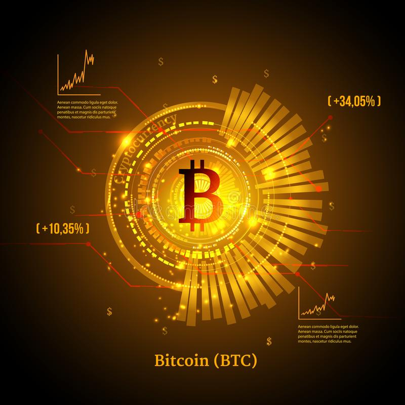 Bitcoin Symbol And Price Chart Cryptocurrency Concept Futuristic