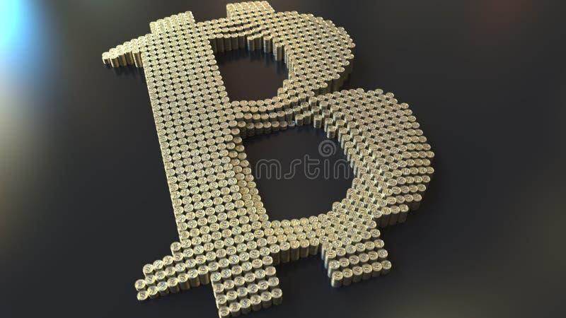 Bitcoin symbol som göras av många myntbuntar, tolkning 3D royaltyfri foto