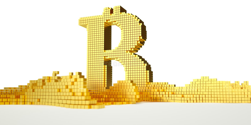 Bitcoin symbol topi w ciekłego złoto Ścieżka ilustracja wektor