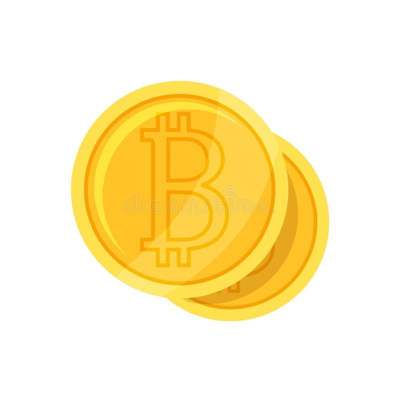 Bitcoin symbol w p?askim projekcie r?wnie? zwr?ci? corel ilustracji wektora obrazy stock