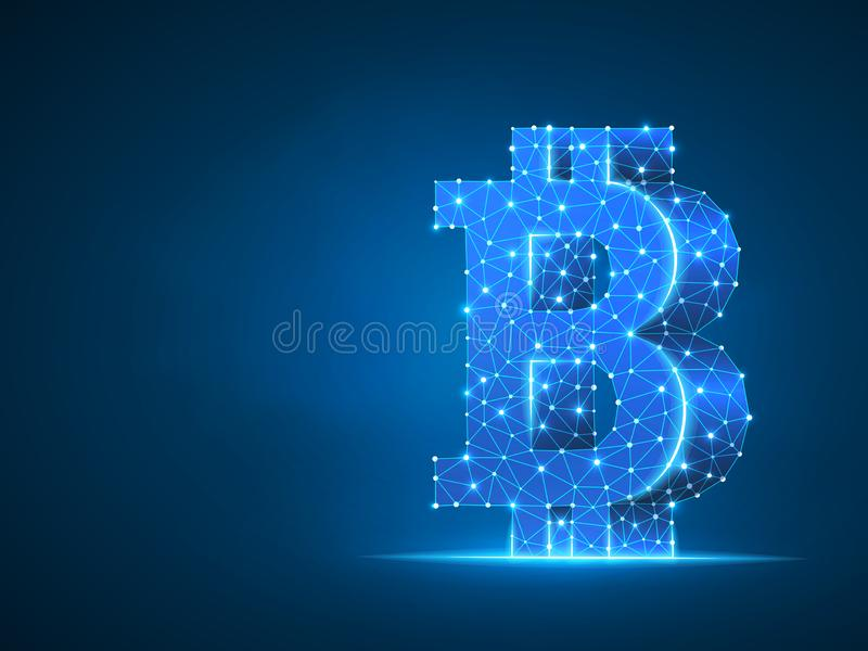 Bitcoin symbol wireframe digital 3d. Vector polygonal neon cryptocurrency Low poly business, data cash, finance concept. Bitcoin symbol wireframe digital 3d royalty free illustration