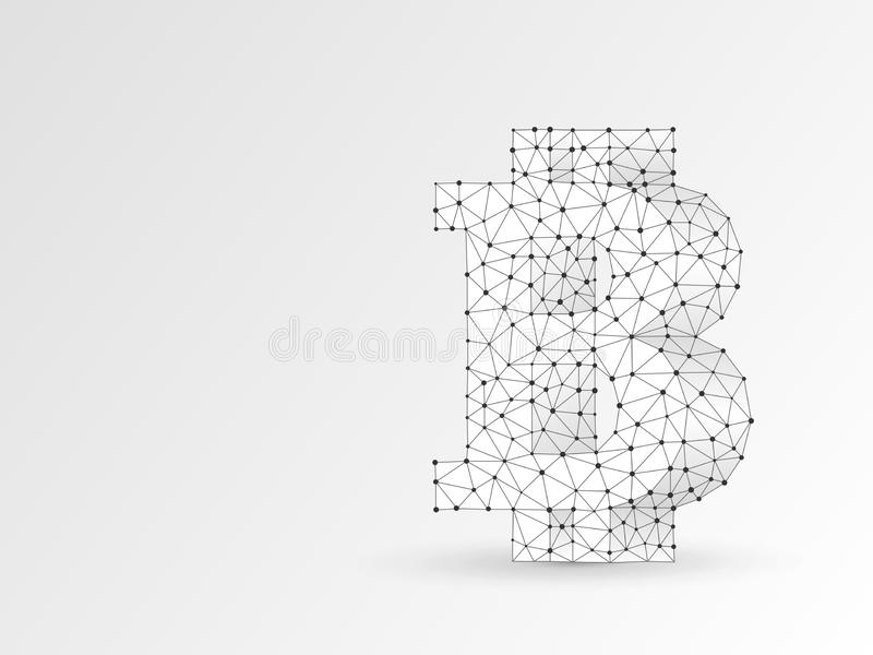 Bitcoin symbol wireframe digital 3d. Vector polygonal origami cryptocurrency Low poly business, cash, finance concept. Bitcoin symbol wireframe digital 3d stock illustration