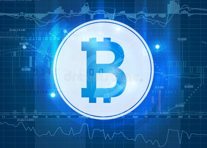 Bitcoin symbol z targowymi dane royalty ilustracja