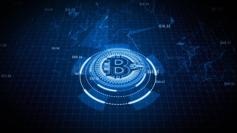 Bitcoin symbole mon?taire dedans le concept num?rique de r?seau de cyberespace, d'affaires et de technologie illustration stock
