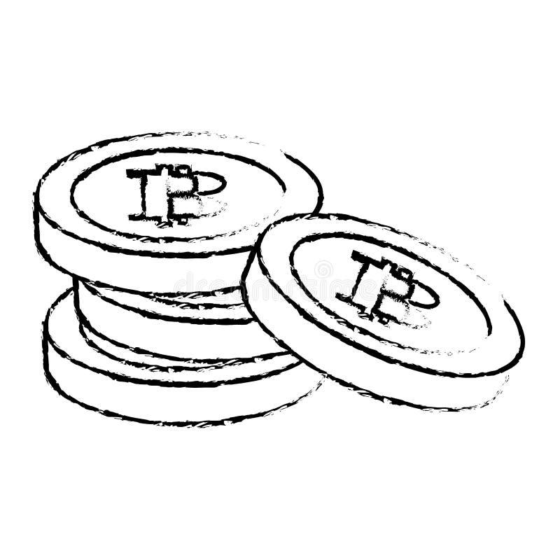 Bitcoin symboler, digitalt pengarsymboler stock illustrationer