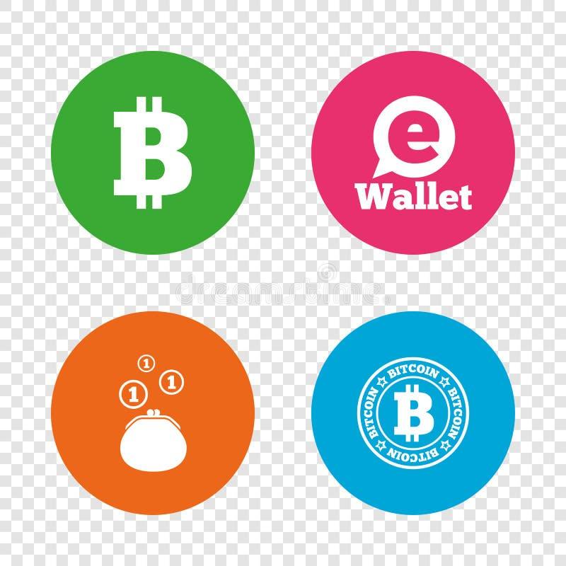 Bitcoin symboler Elektroniskt plånboksymbol vektor illustrationer