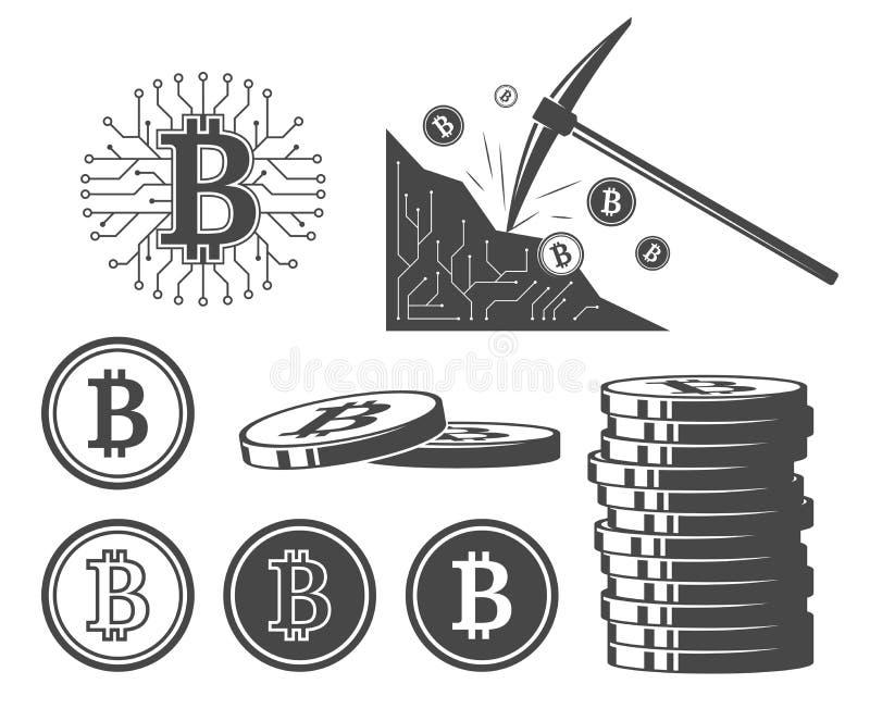 Bitcoin symboler, uppsättning av vektorillustrationer stock illustrationer