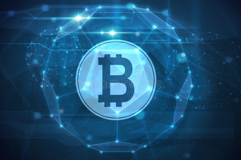 Bitcoin symbolu futurystyczna ilustracja ilustracji