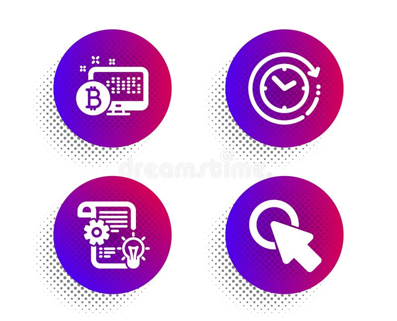 Bitcoin system, Cogwheel and Time change icons set. Click here sign. Cryptocurrency monitor, Idea bulb, Clock. Vector. Bitcoin system, Cogwheel and Time change stock illustration