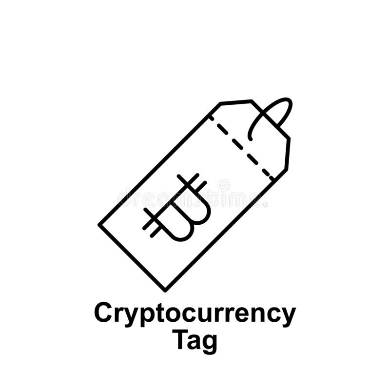 Bitcoin tag outline icon. Element of bitcoin illustration icons. Signs and symbols can be used for web, logo, mobile app, UI, UX royalty free illustration
