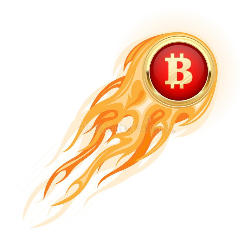 Bitcoin takeoff - flaming bitcoin flying up, cryptocurrency growth royalty free illustration