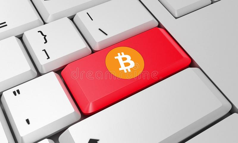 Bitcoin-Tastatur Wiedergabe 3d Schlüsselgeld stockfotografie