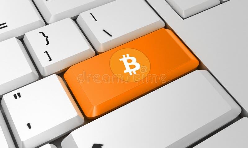 Bitcoin-Tastatur Bitcoin-Zeichen 3d übertragen lizenzfreie stockbilder