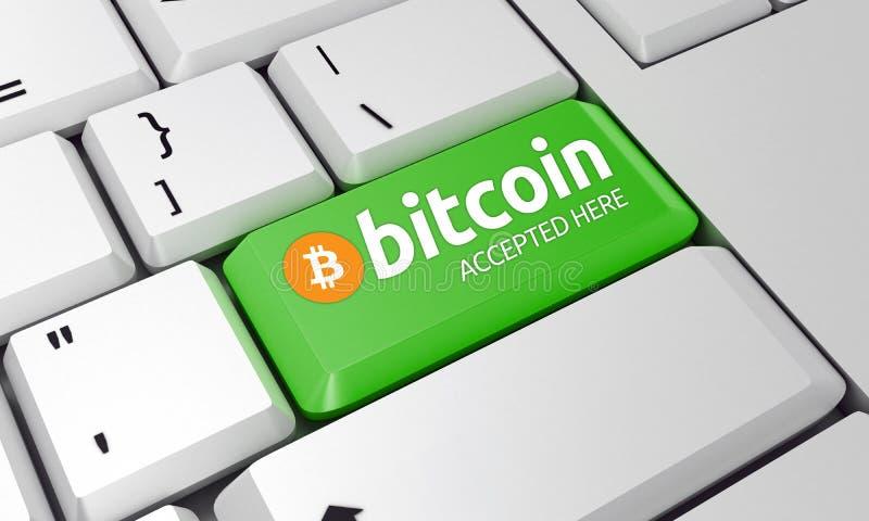 Bitcoin-Tastatur Bitcoin-Zeichen 3d übertragen lizenzfreie stockfotografie