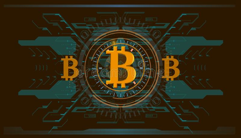 Crypto-currency, bitcoin technology, abstract visualization futuristic bitcoin , aesthetic design hud bitcoin background royalty free illustration