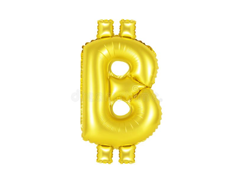 Bitcoin tecken, guld- färg arkivfoto