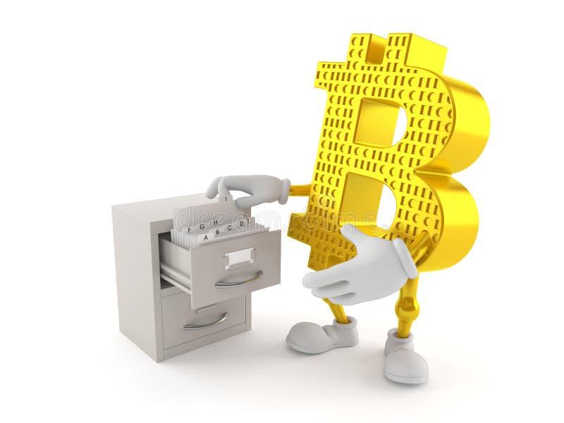 Bitcoin tecken med arkivet royaltyfri illustrationer
