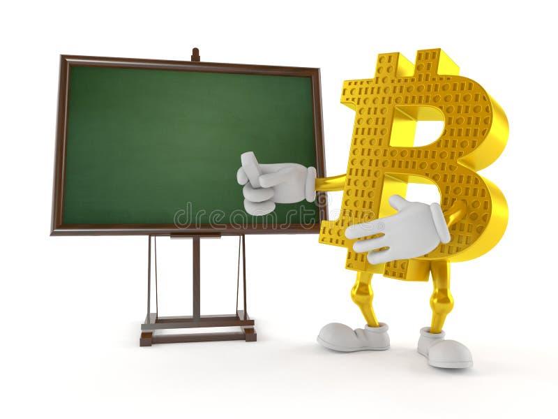 Bitcoin tecken med den tomma svart tavla stock illustrationer