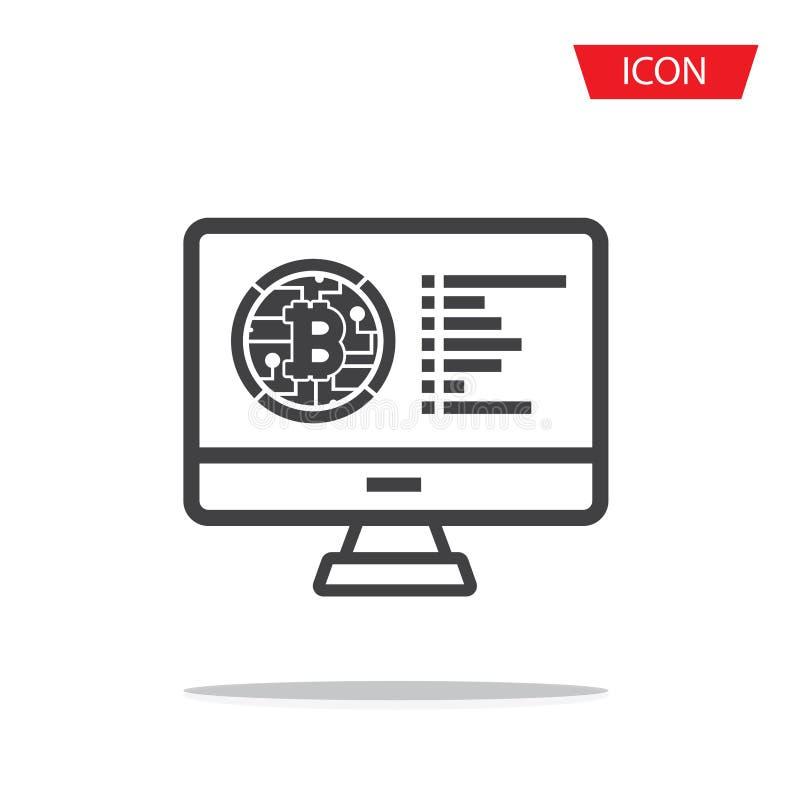 Bitcoin teckensymbol f?r internetpengar Crypto valutasymbol royaltyfri illustrationer