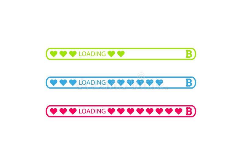 Bitcoin teckensymboler i rundade färgmenyknappar och päfyllningsstång med hjärtor stock illustrationer