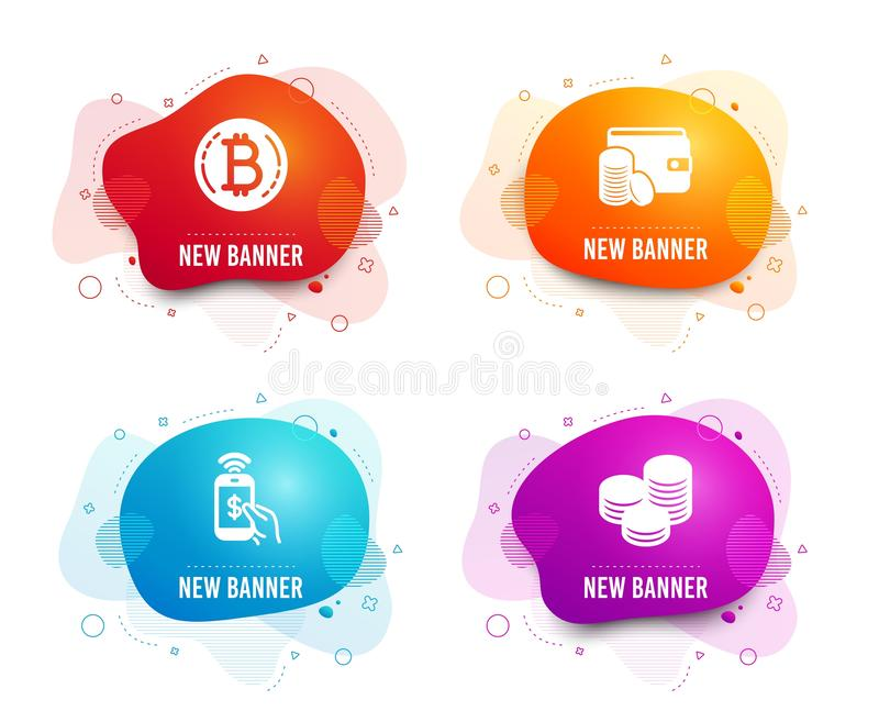 Bitcoin, telefon zapłata i zapłaty metoda ikony, Porada znak Cryptocurrency ukuwa nazwę, Mobilny wynagrodzenie, portfel z monetam ilustracji