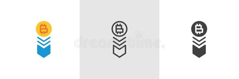 Bitcoin tempo spada puszek ikona royalty ilustracja