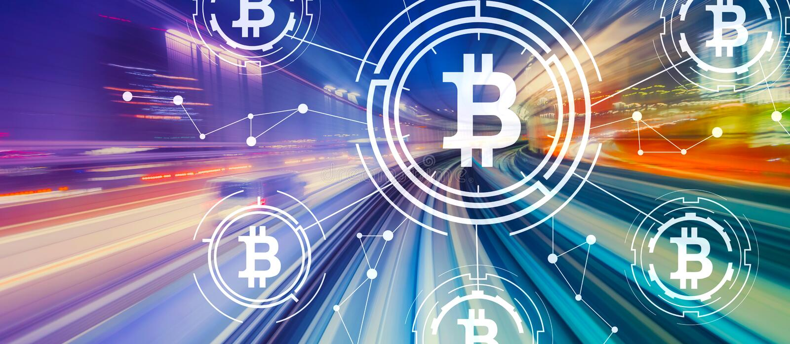 Bitcoin theme with high speed motion blur stock images