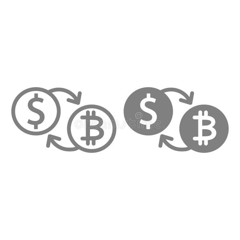 Bitcoin till linjen för dollarutbyte och skårasymbolen Bitcoin och illustration för dollarmyntvektor som isoleras på vit vektor illustrationer