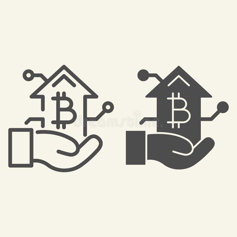 Bitcoin tillväxtdiagram i handlinje och skårasymbol Arm med illustrationen för cryptocurrencygrafvektor som isoleras på vit royaltyfri illustrationer