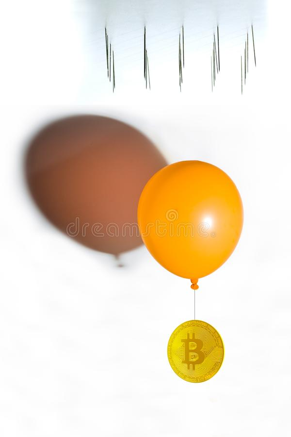 Bitcoin about to fall down and collapse. Bitcoin hanging from an. Orange balloon and needles at the top vector illustration