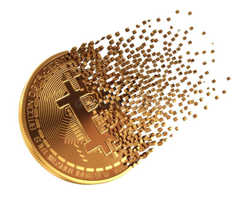 Bitcoin tombe en morceaux aux pixels illustration stock