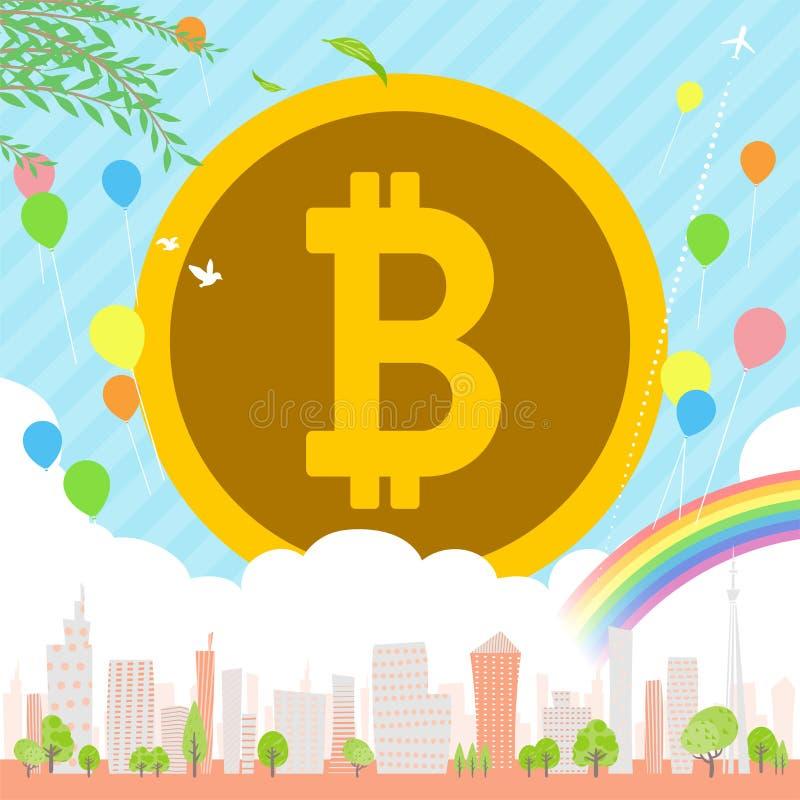 Bitcoin Townscape back image illustration_balloon & rainbow vector illustration
