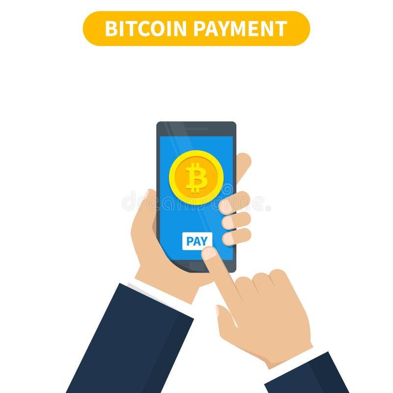 Bitcoin transaktionsbegrepp Köpandecryptocurrency genom att använda smartphoneplånboken också vektor för coreldrawillustration stock illustrationer