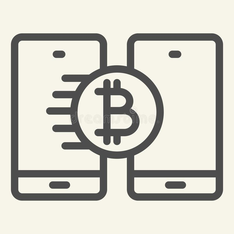 Bitcoin transfer line icon. Crypto coin and smartphones vector illustration isolated on white. Cryptocurrency on phone vector illustration