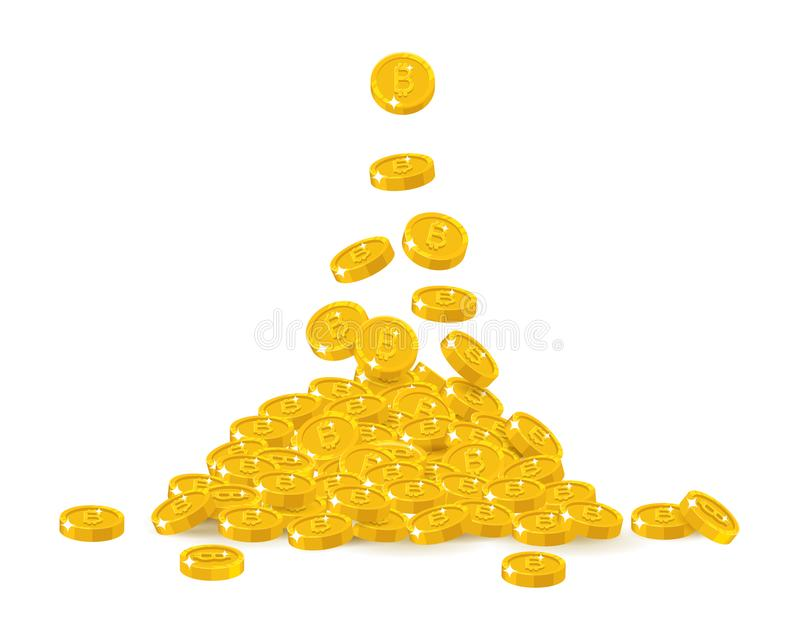 Bitcoin treasure heap. Virtual currency for instant, global, secure and free profit. Financial growth concept. Cartoon vector illustration on white background vector illustration