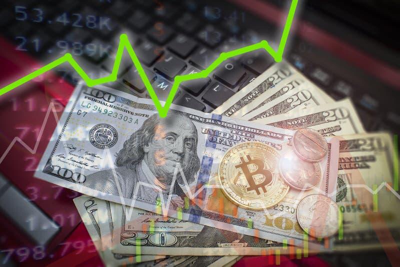 Bitcoin und Dollar BTC-Marktsymbol cryptocurrency steigender Abo lizenzfreies stockfoto