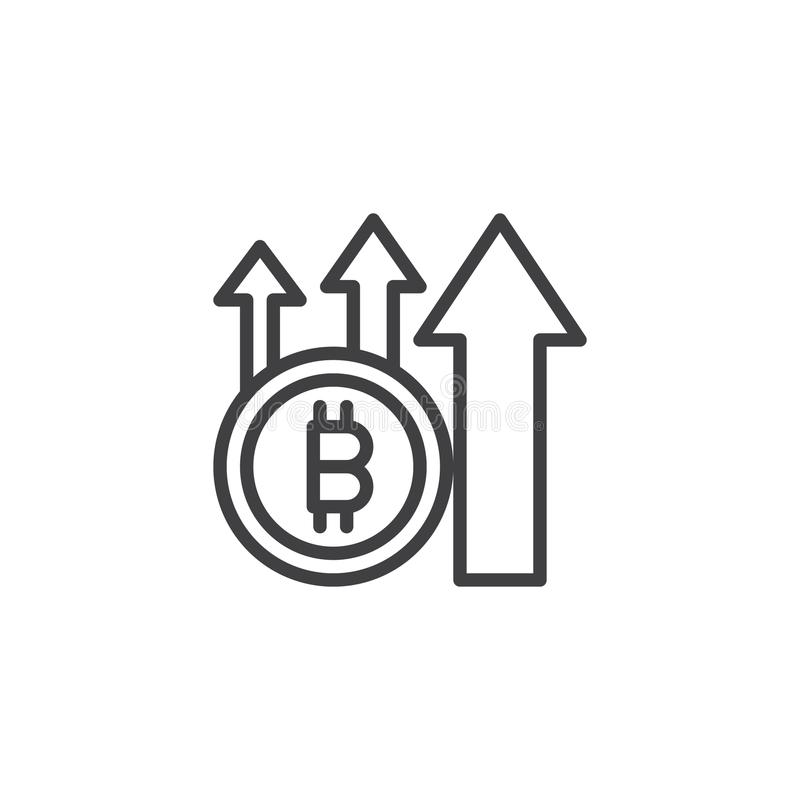Bitcoin with up arrows outline icon stock illustration