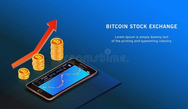 Bitcoin up growth concept. Bitcoin revenue illustration. Forex trading chart online. Exchange royalty free illustration
